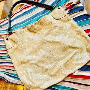 {BANANA REPUBLIC} Leather Snakeskin Tote Bag